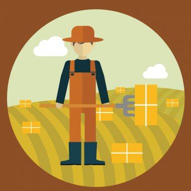 Farmer man, picking hay flat modern