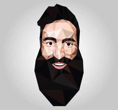 Illustration with a male face with a beard in low poly, origami style. Hipster
