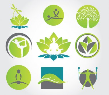 Collection of yoga, zen, meditation icons, colorful elements and symbols