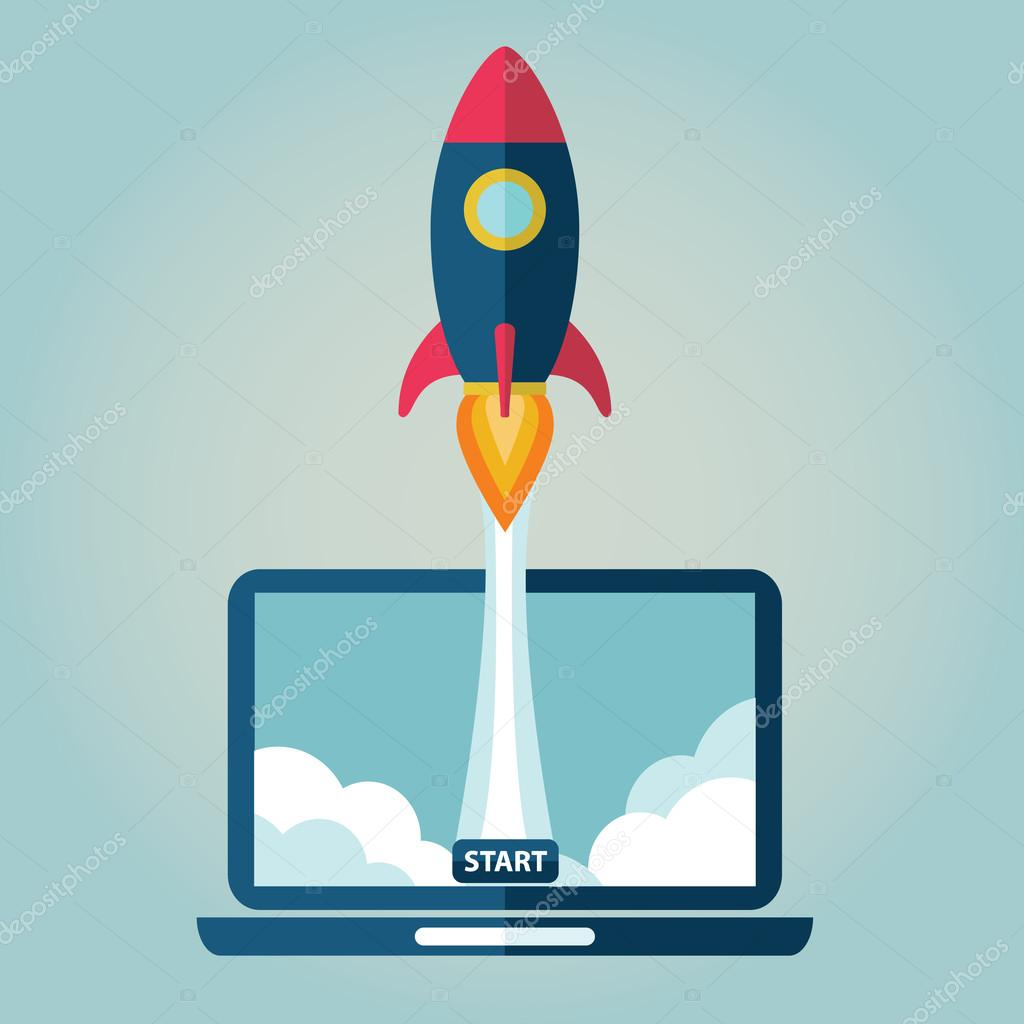 Flat rocket flying from laptop . Start up concept. Project development.