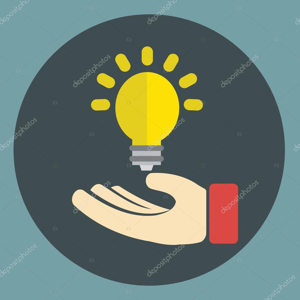 Kaufmann-Hand mit Glühbirne - Symbol für die neue Idee im Geschäft ...