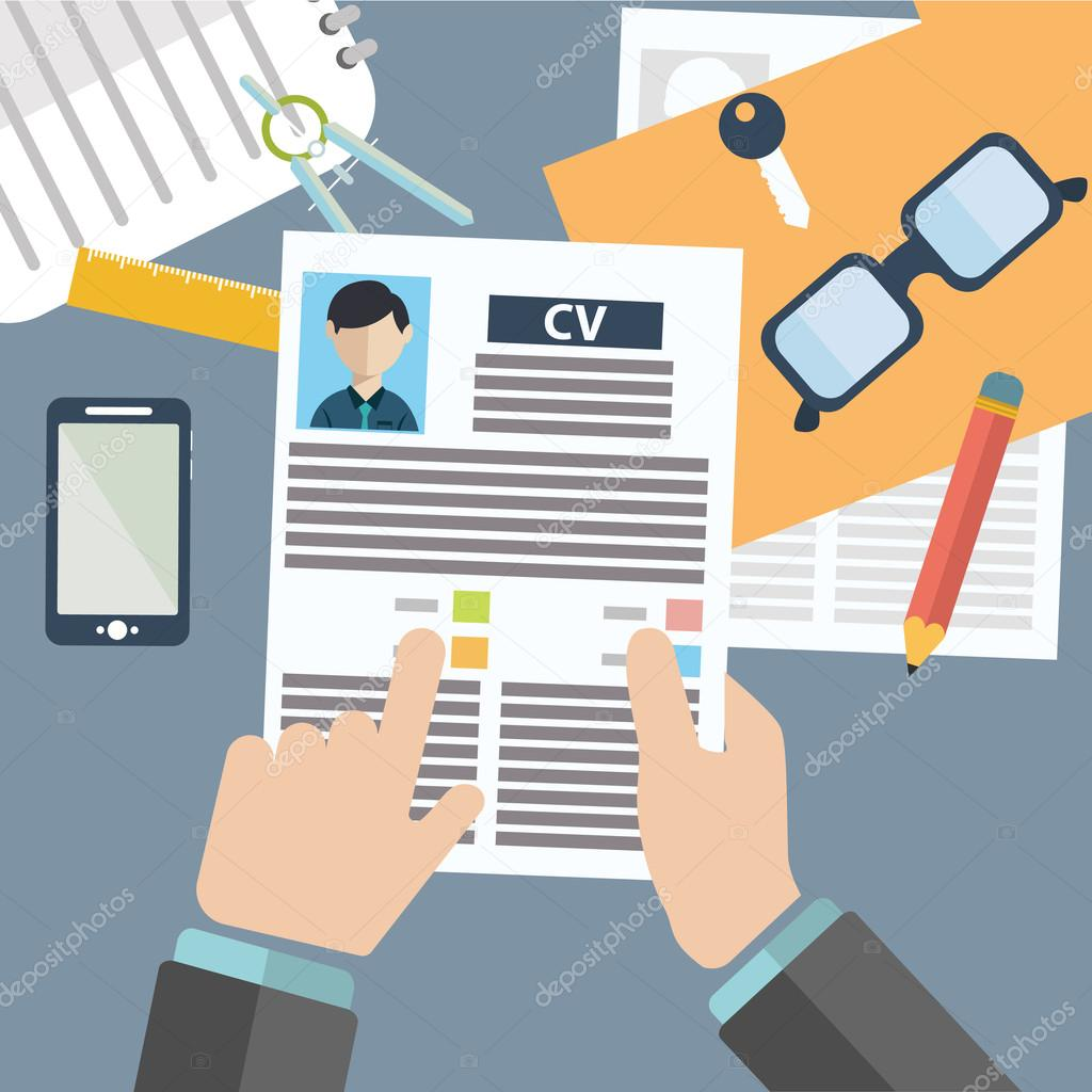 Vector illustration concept of human resources management, finding professional staff, head hunter job, employment issue and analyzing personnel resume.infographics