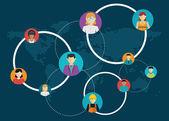 Fotografia Networking - le connessioni sociali tra le persone: business, amicizia, comunicazione degli interessi. Illustrazione di vettore