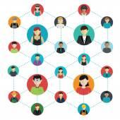 Fotografie Networking - die sozialen Verbindungen zwischen Menschen: Business, Freundschaft, Kommunikation der Interessen. Vektor-illustration