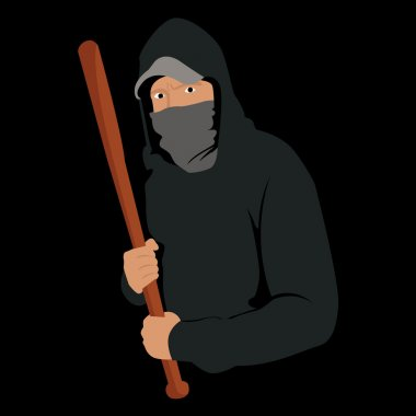 Male thug in hoodie waiting to attack with wooden baseball bat.