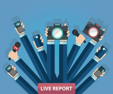 Live report, news, paparazzi concept, live news, hands of journalists