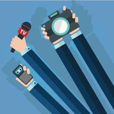 Live report, news, paparazzi concept, live news, hands of journalists stock vector