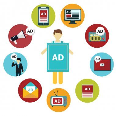 media and  marketing   icons set