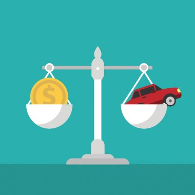 Scales with car and dollar. Vector illustration clip art vector