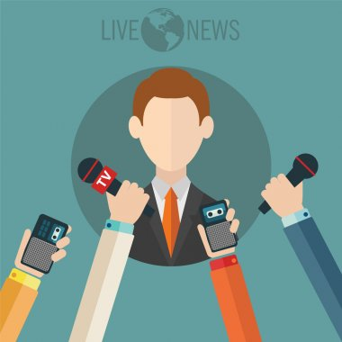 Businessman giving an interview in the presence of journalists with microphones stock vector