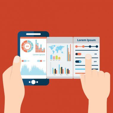 hands holding  mobile with analytic data