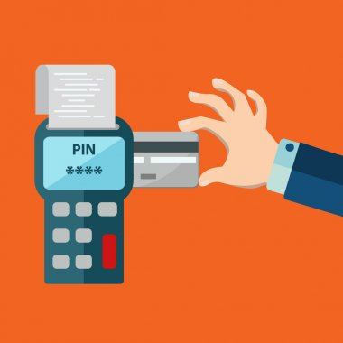 Hand inserting credit card