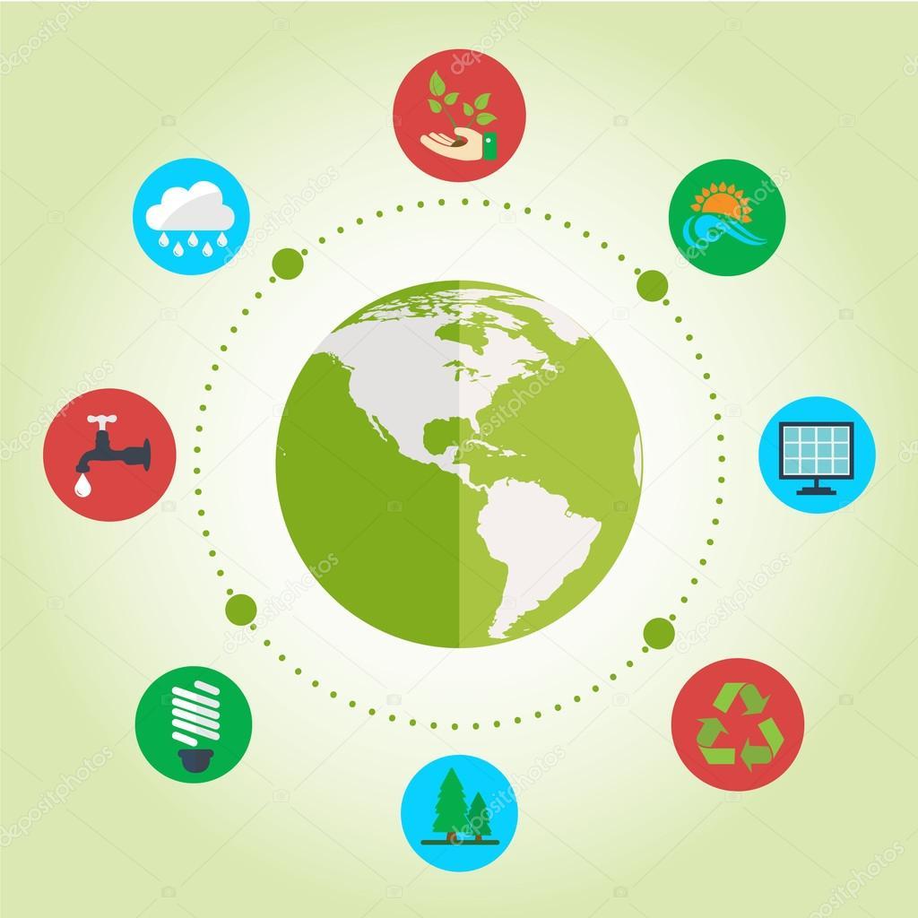 flat design icons of ecology