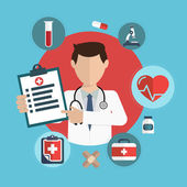 Photo Flat health care and medical research background. Healthcare sys