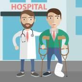 Muž v berle nápomocen lékař