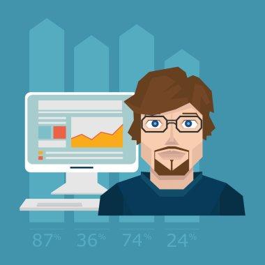 Illustration of development website statistic