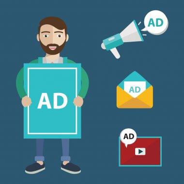 media and guerrilla marketing flat icons
