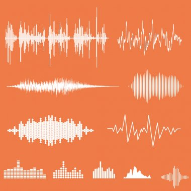 Vector Sound Waveforms. Sound waves and musical pulse stock vector