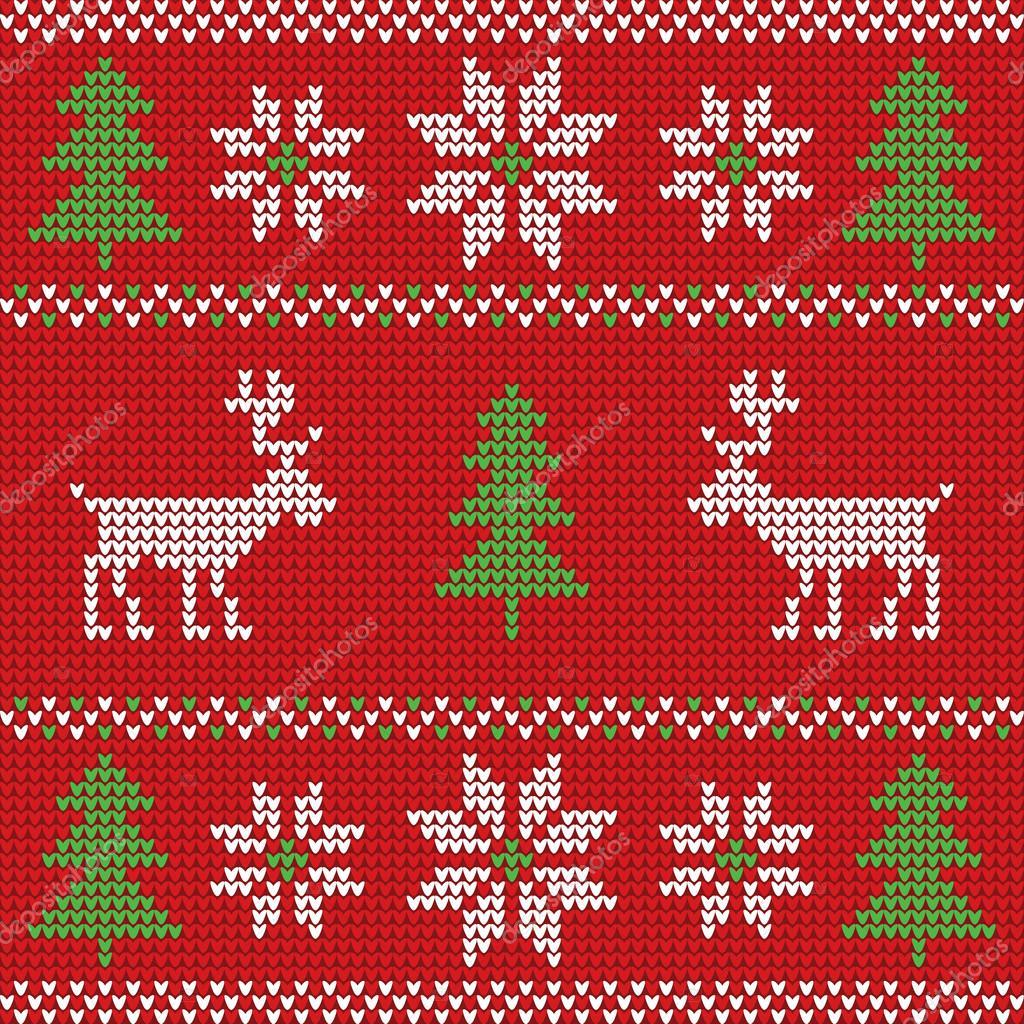 Gebreide Kersttrui.Rode Gebreide Kerst Trui Met Herten Stockvector C Royalty 91564542