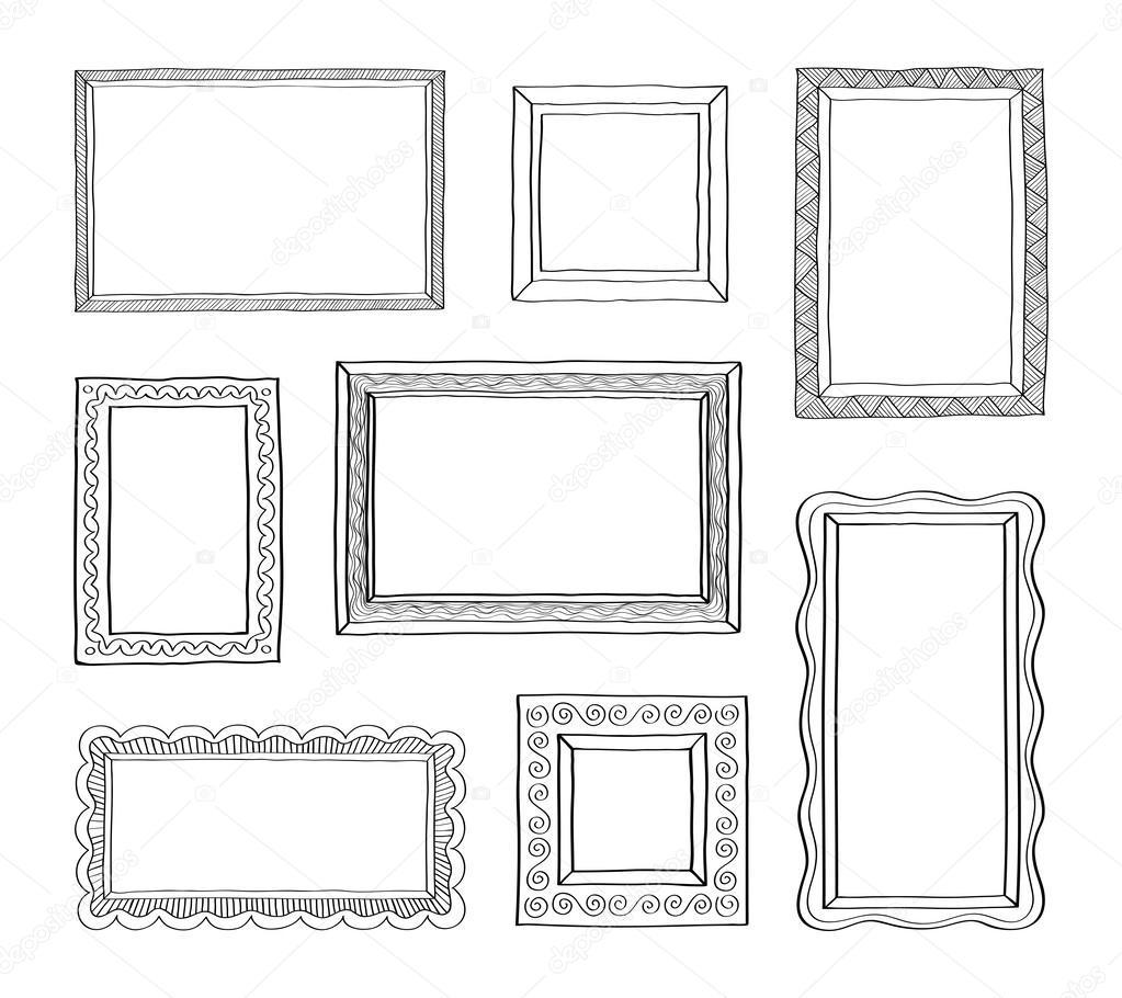 Vektor-Satz von Foto Rahmen Hand gezeichneten doodle — Stockvektor ...