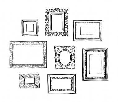 Vector set of vintage photo frames, hand drawn doodle style, antique ornamental and cute photo frames for decoration and design