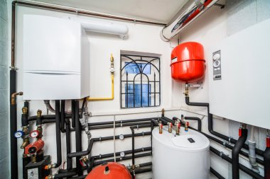 interior household boiler with gas and electric boilers