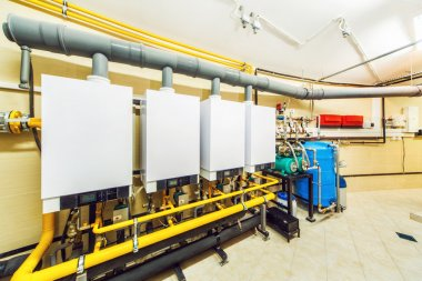 Interior boiler with four powerful of household gas boilers