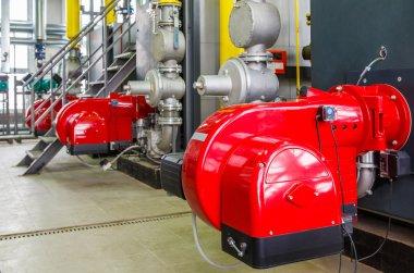 gas burner boiler with valves, gate valves and displays