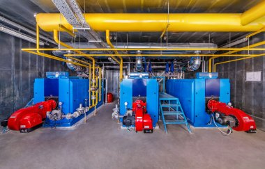 Interior gas boiler with three boilers