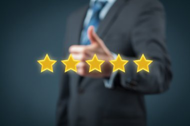 Businessman with company five stars rating