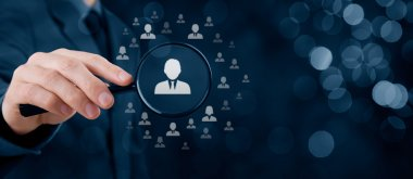 Human resources, CRM, data mining and social media concept