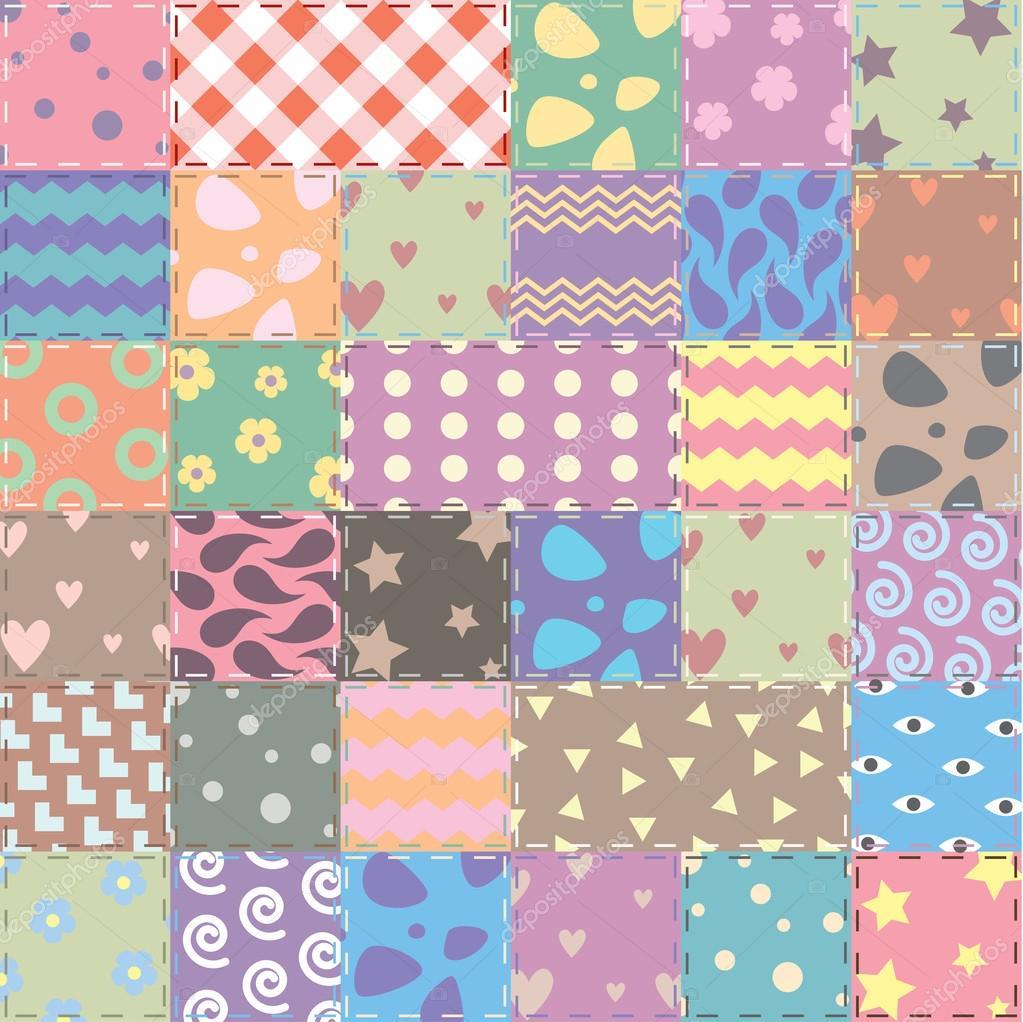 Adesivo De Herpes Labial ~ patchwork artesanato tecido de fundo Vector no chiqueiro chique gasto u2014 Vetores de Stock