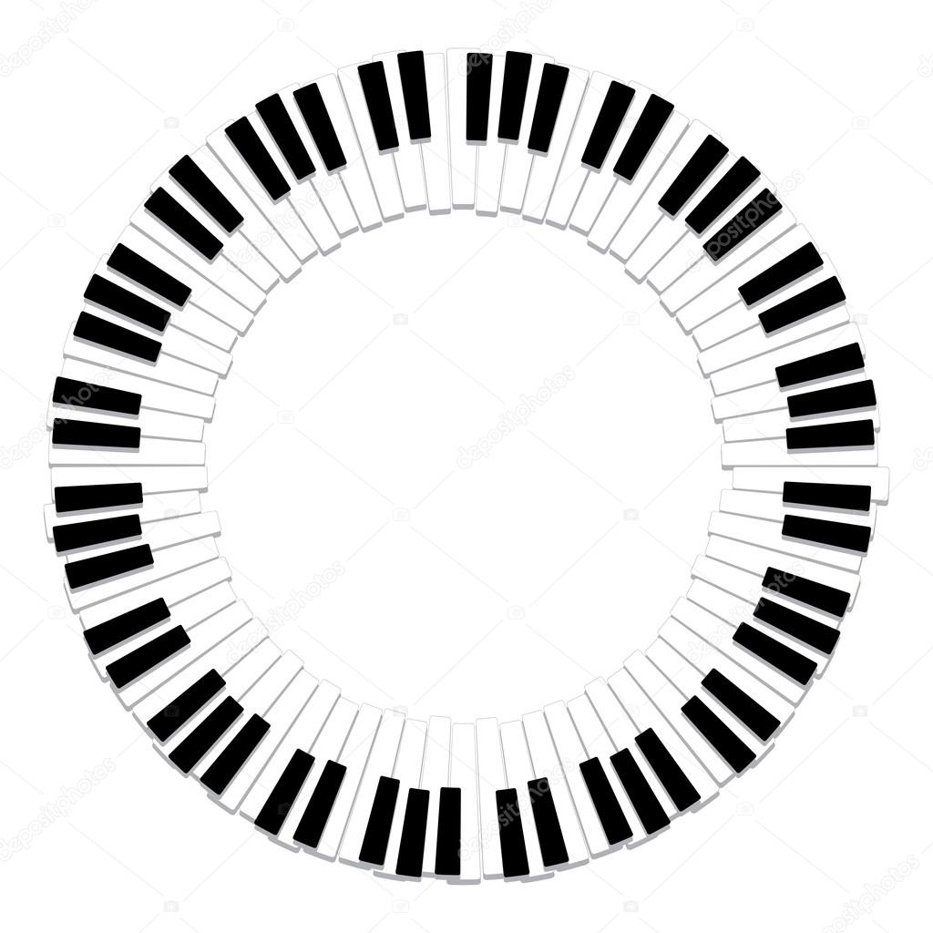 Vector Round Border Of Piano Keyboard U2014 Stock Vector