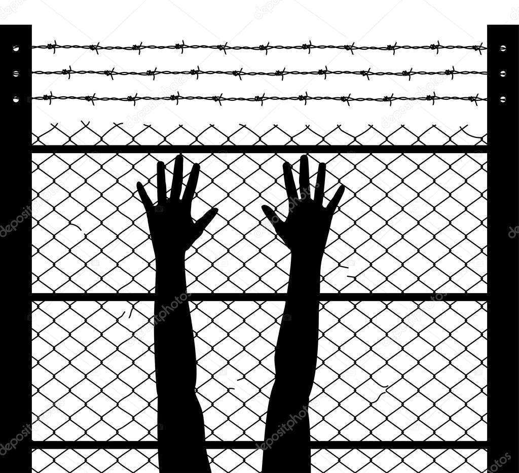 Vektor angesprochen Hände und Stacheldraht Gefängnis Grenze ...