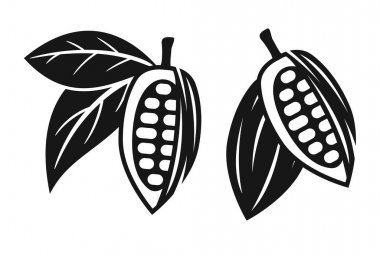 Vector icons of cocoa beans with leaves isolated on white background. chocolate organic food symbol. flat illustration of cocoa bean peel and leaves. cacao tree fruit icon