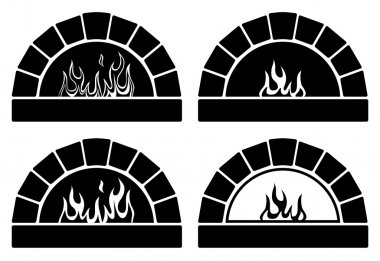 vector black and white ovens with  fire
