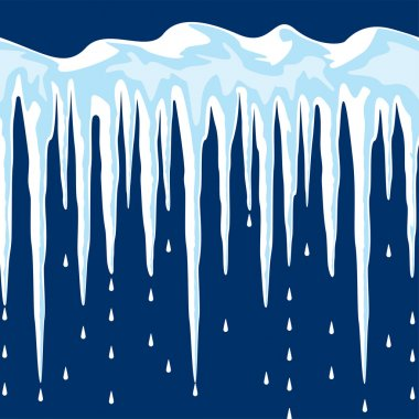 vector long icicles and snow background