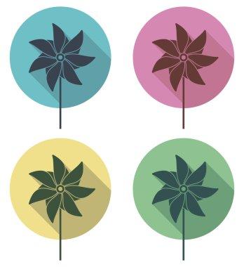 vector colorful pinwheel flat icons set