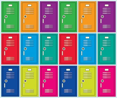 vector flat background of colorful school lockers