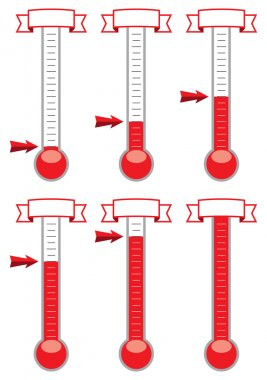 Vector goal thermometers at different levels clip art vector