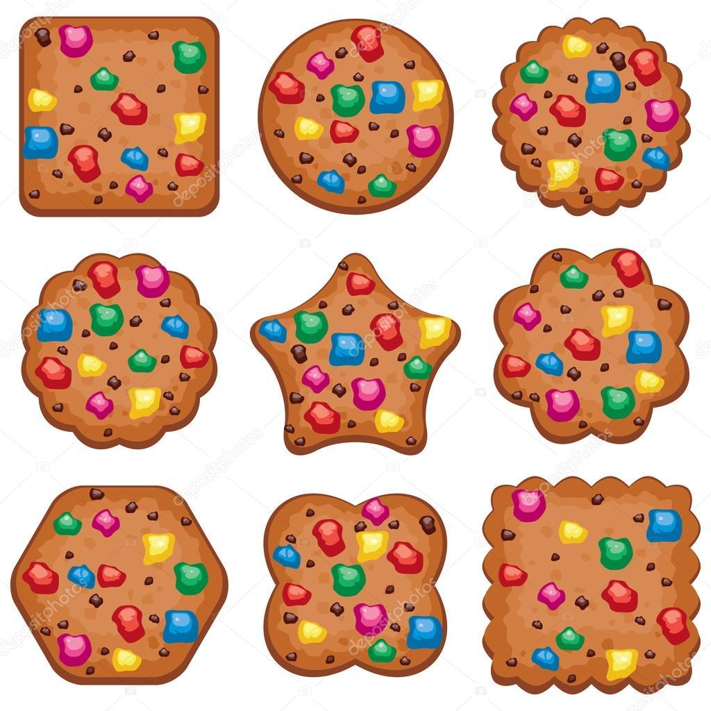 Vector conjunto de galletas de chispas de chocolate de colores de ...