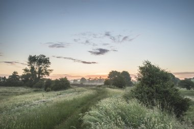 Beautiful vibrant Summer sunrise over English countryside landsc