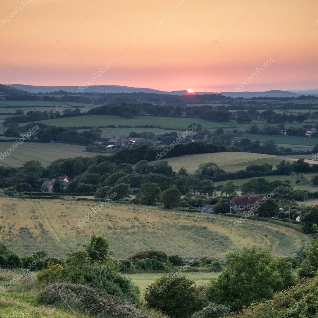 Landschap Afbeelding Zomer Zonsondergang Uitzicht Over