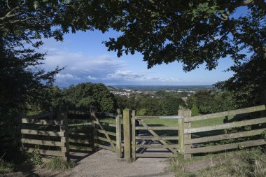View from top of Glastonbury Tor overlooking Glastonbury town in