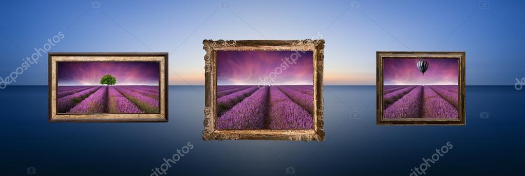 Imagen conceptual de los cuadros de paisaje lavanda cuelga en el ...