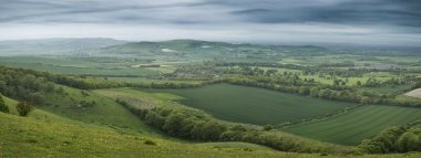 Morning over rolling English countryside panorama landscape in S