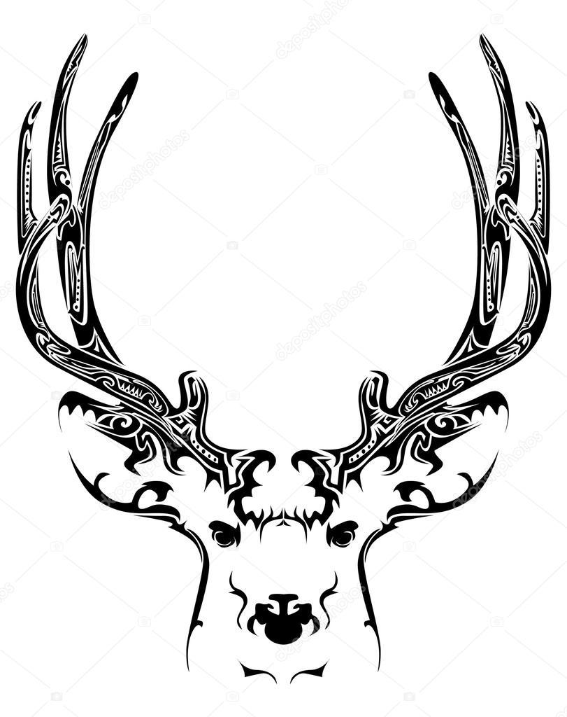 Tête De Cerf Abstraite Tatouage Tribal Image Vectorielle Lindwa