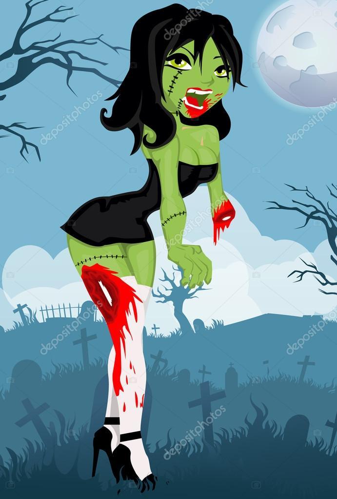 Fille De Dessin Animé Zombie Image Vectorielle Lindwa