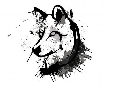 Abstract grunge wolf head