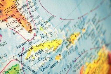 Map of Cuba and Florida. macro image